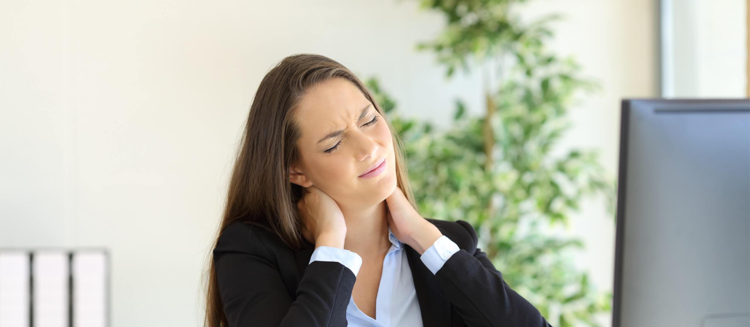 Chronic Neck Pain Woman Grimacing